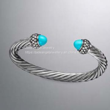 925 Sterling Silver DY Inspired 7mm Turquoise Moonlight Ice Cable Bracelet