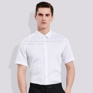 20 spring and summer men's shirt light luxury business men's bamboo fiber solid color stretch short-sleeved shirt men's half-sleeved shirt