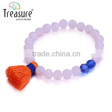 Fashion light purple resin pearl elastic bracelet with tassel and crystal beads for friends gift in 2016 valentine's day