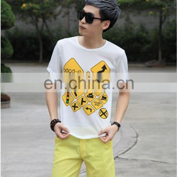 2017 Peijiaxin Casual New Design Guidepost Men Printed Fashion T shirt