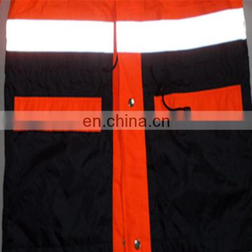 Waterpoof Orange High visibility Reflective Warm Safety Jacket