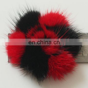 Mink fur flower bi color fur accessory charm top grade fur decoration