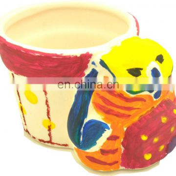 DIY painting ceramics flowerpot crafts for kids with color paint