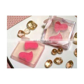 Two Pink Hearts Rose Scented Soap