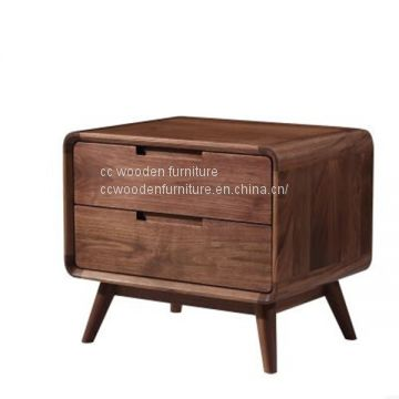 Nordic style black walnut wood bedside table end table nightstand