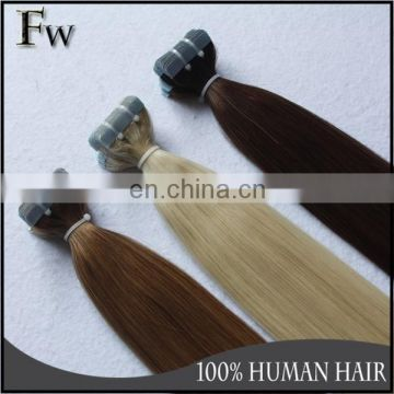 High quality virgin european hair wholesale 100% remy human hair blue glue tape hair extensions for women