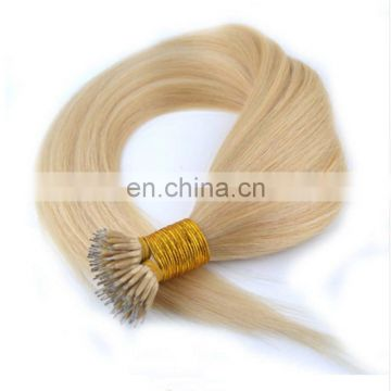 Fast delivery top quality russian nano ring wholesale virgin double drawn stranded hair extensions 100% virgin human hair