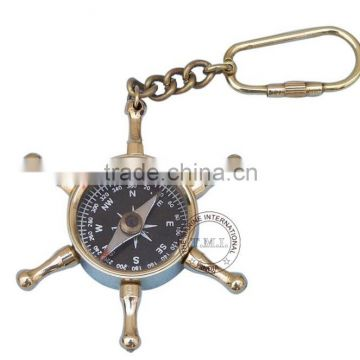 BRASS WHEEL COMPASS KEY CHAIN - NAUTICAL BRASS PROMOTIONAL GIFT