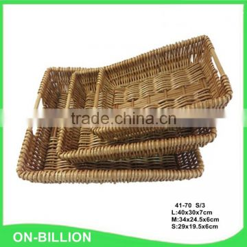 Rurality rectangular wicker storage basket for home shops or market