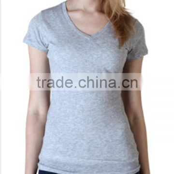 Ladies Grey T-shirt With Short Sleeve V-neck