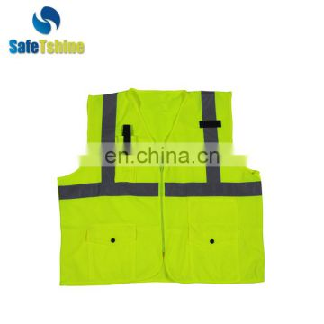 Best quality safety fluorescent walking reflective safety vests with pockets