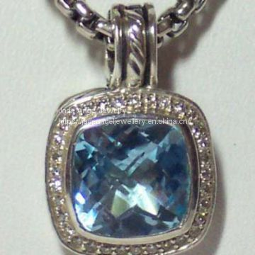 Designs Inspired DY 925 Silver 11mm Blue Topaz  Albion Enhancer