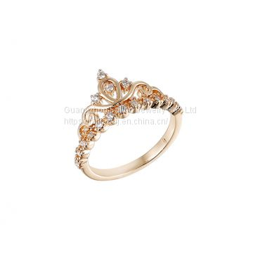 The Rose Gold Plated Crown Rings Inlay A Zircon