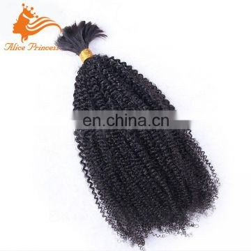 "Real Mink Brailian Hair Bulk Afro Kinky Hair Virgin Brazilian Bulk Hair Extensions Without Weft 10""-24"" In Stock"