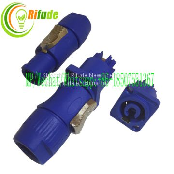 Display Screen Aviation Electrical Connectors 500V 20A 3 Pole Powercon Aviation Jack Plug