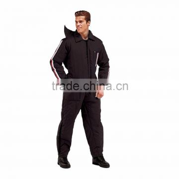 Mens Snow Ski coverall with Waterproof Heavy Nylon Shell & Rescue Insulated Zip Off Hooded workwear uniform