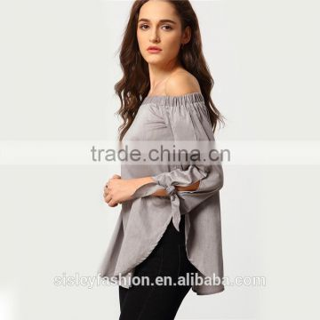 Women's Long Sleeve Off The Shoulder Knotted Shirts Blouse Solid Slash Neck Semiformal Work Wear Blouse B007