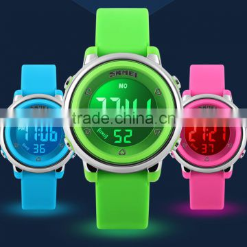 small size colorful green ,blue ,pick kids watch 3 atm silicone watch 2016 skmei brand hot sale silicone watch