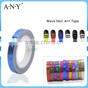 ANY Nail Art DIY Using Wave Style Wholesale Nail Sticker Blue Color