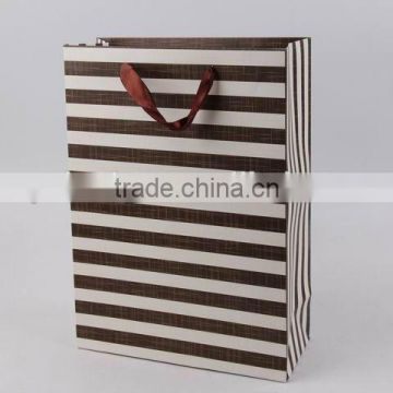 Foldable Gift Bag With Stripe Pattern/ Shopping Paper Bag