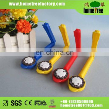 colourful plastic food bag clip with date