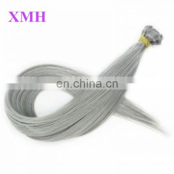 high quality Flat tip keratin hair extensions gray human hair