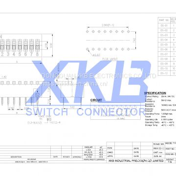 China XKB brand 2.54mm space  pin(1-12) vertical in-line type DIP switch