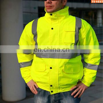 High Visibility fluorescent yellow reflective tape 3 in 1 safety jacket