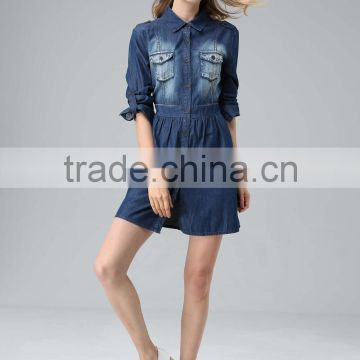 Printed Denim Dress Ladies Fashionable Sexy Clothing Manufacturer OEM Factory From Guangzhou
