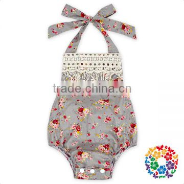 Wholesale Cotton Bubble Romper Summer Beach Floral Halter Ruffle Kids Boutique Bubble Rompers