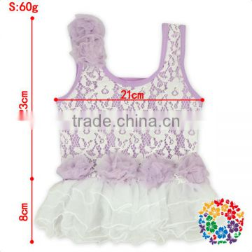 Baby Girls White Lace Ruffle Two Pieces Lavender Swimsuit With Hat