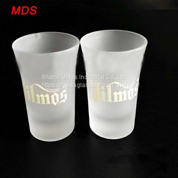 OEM trumpet mouth sandblast frosted shot glass white wine glass