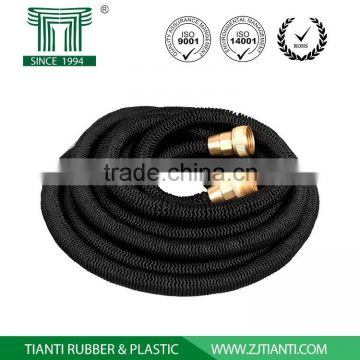 Expandable Heavy Duty Garden Hose with Brass Fitting Garden Hose Connectors 8 Patterns Sprayer and Metal Hose Hanger