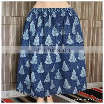Hand block print cotton skirt women long skirt Hippy Mini Dress choli