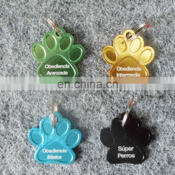 custom aluminium paw shaped dog tag/printing personalized logo pet tag