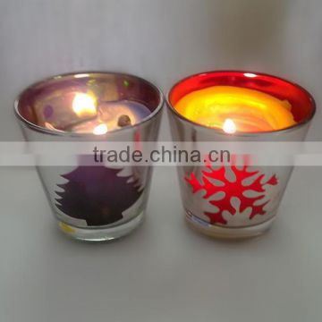 Handmade electroplating tree and snowflake silver outside inner black and red glass candle holder