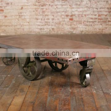 Cast Iron Coffee Table , India Iron Coffee Table , vintage wheels cart coffee table