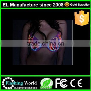New design led light up sexy bra ,luminous rgb controller sexy bra and clothes factory in china YQ-02