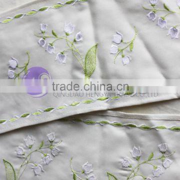 Machine made 100% polyester embroidered table runner