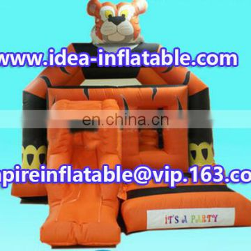 funny inflatable tiger jumping house combo bouncy castle ID-CB090