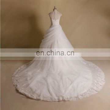 Special design round neck short sleeve new tiered lace & beads ball wedding gown