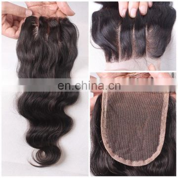 Aliexpress hot selling hand tied lace closure free part/middle part/three part remy virgin brazilian hair body wave