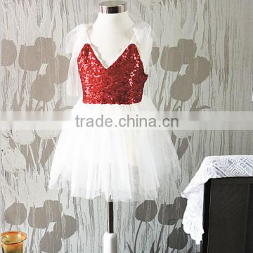 Christmas clothes autumn dresses for kids christmas red sequin dress kids full dress