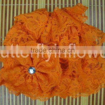 fashion silk baby orange lace hat with lace flower baby cap