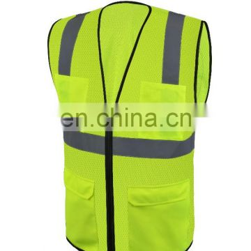 high visibility clothing reflective safety vest mesh or knitting reflective safety clothing 100% polyester fabric