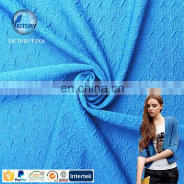 2018 Polyester Spandex Air Layer Hubble Bubble Grain Jacquard Pattern Plain Dyed Knitted Fabric for Home Textile