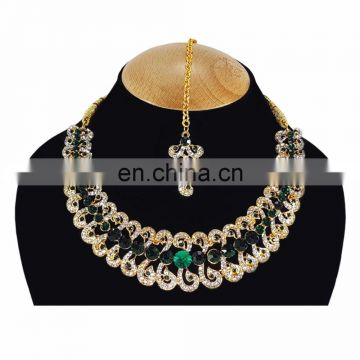 Designer Gold Plated Indian Handmade Party wear Kundan Zerconic Necklace set Green Color