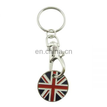 custom metal round plated UK flag trolley token