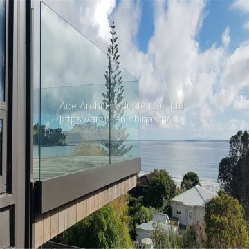 Aluminum U Channel Tempered Glass Balustrade for Balcony & Deck Railing