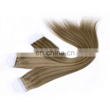 22 inches PU Tape Glue Skin Weft 100% European Remy Human bundle weft sticker hair extensions